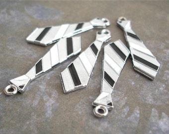 5 Neck Tie Charms Pendants Silver Black White Striped
