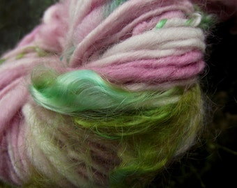 Handspun art yarn, wool yarn with locks of kid mohair, handpainted yarn, worsted thick and thin Cherry Blossom