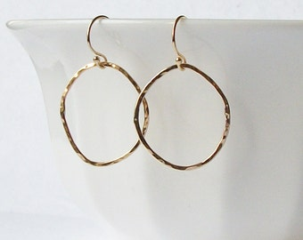 Gold Circle Eternity Dangle Earrings Hand Hammered