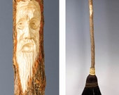 Carved Kitchen Broom in your choice of Natural, Black, Rust or Mixed Broomcorn