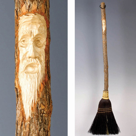 Carved Kitchen Broom from The Broomchick