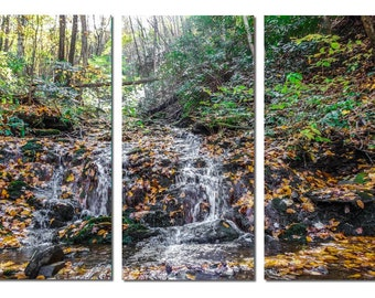 Creek at Great Smoky Mountains National Park Canvas Triptych, 3 Panel Art, LARGE, Ready to Hang