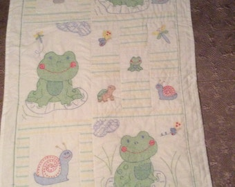 Hand Embroidery & Hand Quilted Frogs Crib Quilt