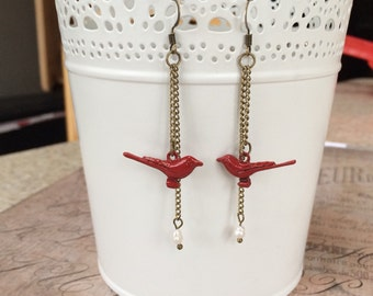 Brass Chain Dangly Earrings with Red Birds and Pearls