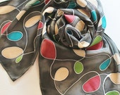 Hand Painted Silk Scarf - Handpainted Scarves Black Gray Grey Charcoal Dark Red Maroon Burgundy Tan Cream Teal Blue Green Abstract