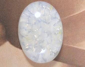 Sparkling White Opal Glass Cabochon,  25X18 MM Oval