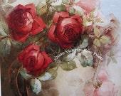 French Spring Roses, Art Print, Half Yard Long, Shabby Chic Decor
