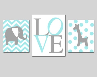 Nursery Art Trio - Chevron Elephant, LOVE, Polka Dot Giraffe - Set of Three Prints - 8x10 and 11x14 - Choose Your Colors