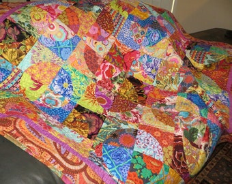 Colorful Circles in Squares Dance Modern Quilt-Made with Kaffe Fassett Fabrics