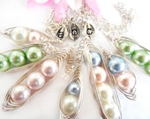 Build Your Own Pea Pod Necklace Three Peas in a Pod Peapod  Wire Wrapped with Pearls Customized with Initial Leaf Charms