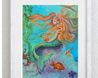 Mermaid art, Mermaid goddess, Mermaid wall art, Princess castle, Princess room wall art, nursery wall art,