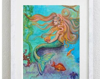 Mermaid art, Mermaid goddess, Mermaid wall art, Princess castle, Princess room wall art, nursery wall art,