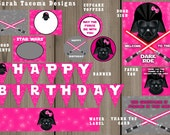 Star Wars Girl Darth Vader Birthday Party Complete Collection Flag Banner, Party Sign, Favor Tag, Water Label + More INSTANT DOWNLOAD