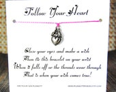 Follow Your Heart - Wish Bracelet - (Be My Valentine) - Shown In The Color PERFECT PINK  - Over 100 Different Colors Are Also Available