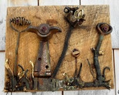 Salvage Garden, Assemblage art on reclaimed wood, Found Object Recycled Art