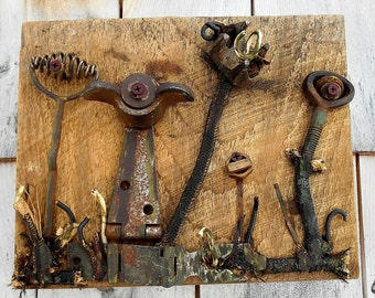 Salvage Garden, Art Assemblage art on reclaimed wood, Found Objects, Recycled Art
