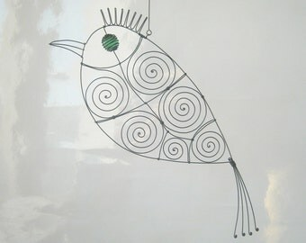 Mobile Metal Sculpture / Green - Eyed Wire Parrot