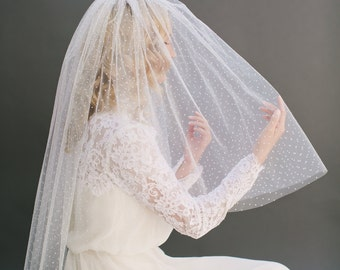 Polka Dot Veil, Swiss Dot Veil, Dotted Veil, Raw Edge Veil, Bridal Veil, Fingertip Veil, Cathedral Veil, Long Veil, 50s Bride Style 1202