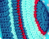 Handmade Toddler Hat Blue and Red Crochet Boys' Hat handmade Christmas Gift Toddler Boys Crochet Hat