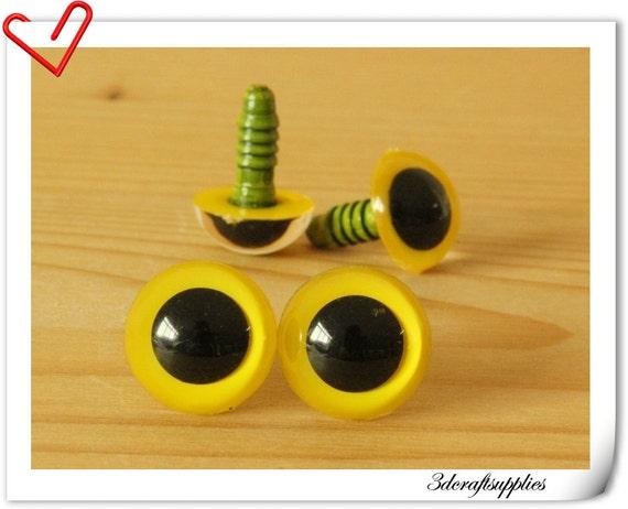 Safety Eyes Amigurumi Australia : 14 mm Yellow Toy eyes Safety eye amigurumi eye doll eyes cat