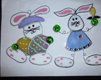 Stained glass Easter Bunnies(set of these two)