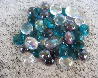 New Mini Peacock Colored Glass Gems Teal Blue Purple and Clear Iridized Glass Gems Mix of Iridized Teal Blue Purple and Clear Glass Gems