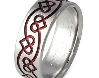 Irish Celtic Titanium Wedding Band  - Chain of Hearts Ring - Red Ring - ck29