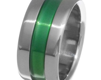 Green Titanium Band - Wide Green Ring