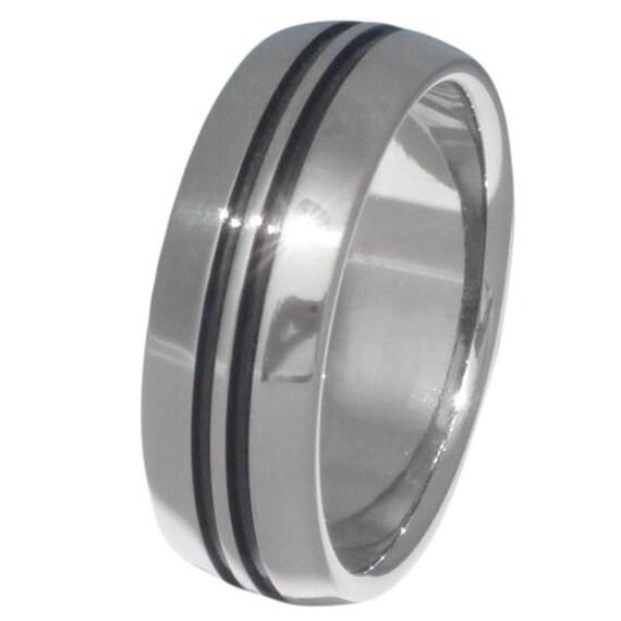 Black Titanium Wedding Band - Black Ring - bk1
