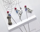 Pins for Spinners - Fibre Arts Accessory - Textile Theme Gift - Pincushion Pins - ecorative Stick Pins - I Heart Spinning - Sewing Accessory
