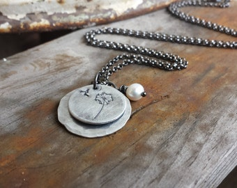 Dandelion Wish Custom Hand Stamped Hammered Aluminum Layered Round Tag Necklace with Freshwater Pearl by MyBella