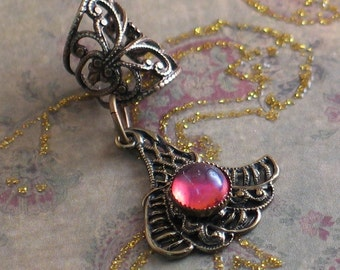 Dragon's Wing - Filigree Ear Cuff with Dragon's Breath Jewel - Earcuff by Lorelei Designs