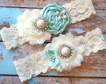 AQUA  wedding garter set / bridal  garter/  lace garter / toss garter included /  wedding garter / vintage inspired lace garter