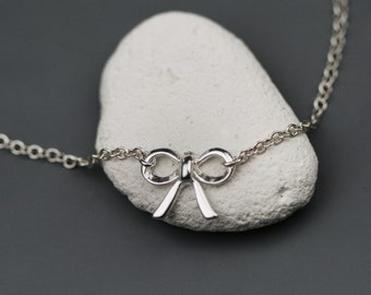 Tiny Bow Necklace -  Sterling Silver Bow Necklace