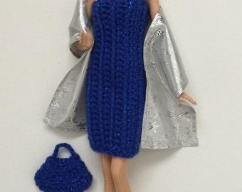 Barbie Clothes Handmade Dress Handbag Stole (Q1217)