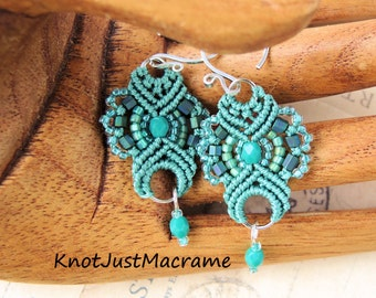 Sage Green Lace Beaded Macrame Earrings MicroMacrame