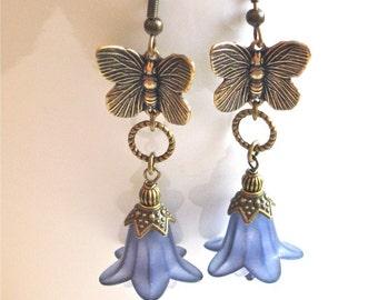 Butterfly Earrings - Flower Earrings, Butterfly Jewelry, Nature Jewelry, Purple Earrings
