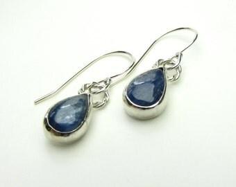 Kyanite Tear Drop Sterling Silver Earrings - Drop Earrings - Silver Dangle Earrings - Blue Gemstone Sterling Earrings