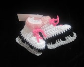 Baby Girl Crocheted White & Pink Ice Skates  Booties 0- 6months