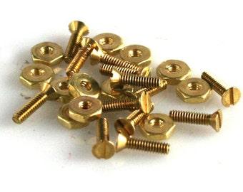 Mini Brass Flat Head Screw and Nut 20 sets