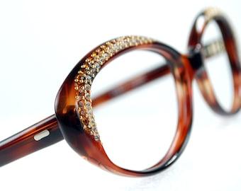 Rhinestone Cat Eye Eyeglasses Frames Tortoise Frame France NOS Luxury Designer 50/19