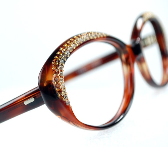 Designer Eyeglass Frames With Rhinestones : Rhinestone Cat Eye Eyeglasses Frames Tortoise Frame France NOS