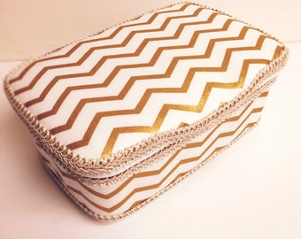 Metallic gold chevron wipe case gold and ivory nursery baby wipes case gold baby nursery gold baby gift gold nursery decor