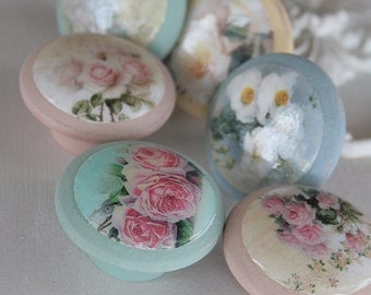 Door Pulls Soft Roses set of 6 in Love Bug Sweetie Jane Tickled Pink and Ol Blue