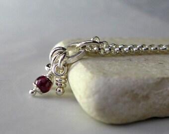 Garnet Flora Pendant, Sterling Silver Necklace, Rustic Organic Knots Pendant. Aroluna