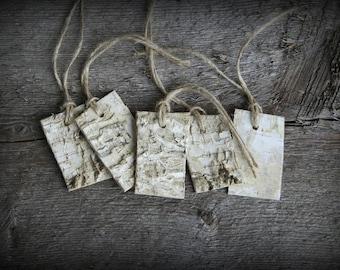 Birch Bark Tags - Set of Five - Rustic Wedding - Favor Tags