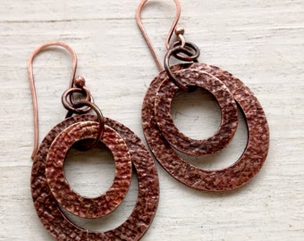 Hammered Copper Textured Hoops Earrings Boho Gypsy Southwestern Everyday Jewelry