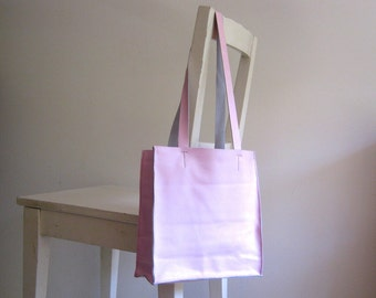 Small Pale Pink Leather Tote Shoulder Bag