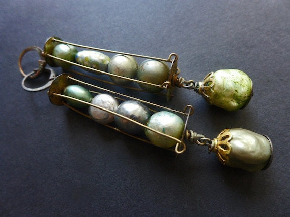 Lovat Moons. Rustic victorian tribal vintage baroque pearl cage earrings.