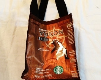 Fun Eco Friendly Purse made with Recycled Starbucks Coffee bags upcycled repurposed